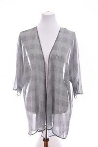 LulaRoe Lindsay Sz M Houndstooth Print Kimono Jacket Unicorn Sheer Black Womens