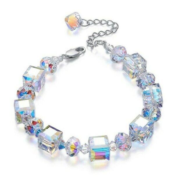 "Mystic Topaz Aurora Borealis Geometric Cubes Bracelet in 18K White Gold 7""-9"""