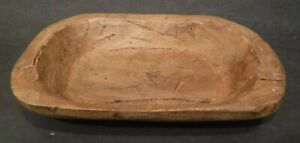 "Primitive Hand Carved Oval Dough Bowl Vintage Wood Trencher Décor 9.50"" Long"
