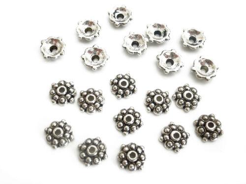 50 PERLENKAPPEN 8x2,5mm antik silberfarbig Perlen Spacer nenad-design AN105
