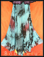 Long Turquoise Tie Dye Skirt 6-16 Hippy Boho Mystical Pagan Wiccan Festival