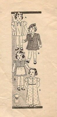 """1940's Orig. Not A Copy VTG Marian Martin Doll Outfit Pattern 9077 Size 12"""""""
