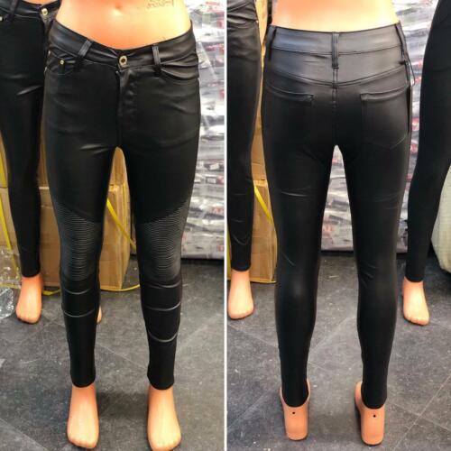 Le Donne Similpelle Vita Alta Leggings Pantaloni Nero Look Bagnato Jeans Pantaloni