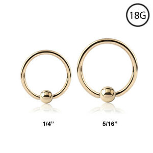 14kt Gold Plated Nose Ring Hoop Captive Bead 5 16 Or 1 4 Cbr 18