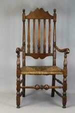 MUSEUM QUALITY18TH C WILLIAM & MARY BANNISTER BACK ARMCHAIR FROM BOSTON MA