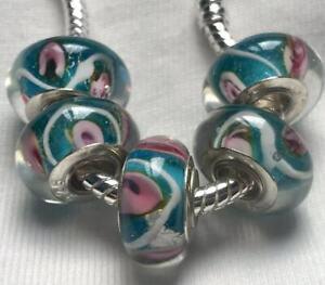 5PCS-silver-hallmarked-Single-Core-Murano-Glass-Beads-fit-Charms-Bracelet-AOC107