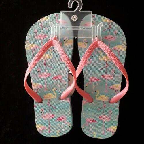 Zehentrenner Badelatschen Flamingo Tropical Saunaschuhe Badeschuhe 36-41 NEU