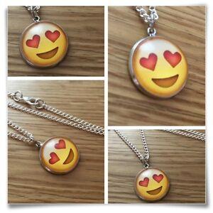 Emoji face Love Heart eyes smile Charm pendant necklace txt geek