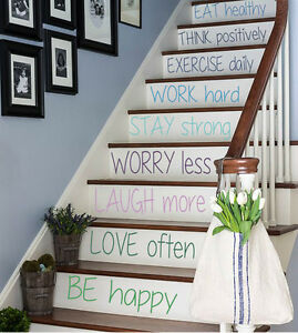 Details About Wall Decal Quote Family Vinyl Stickers Stairs Design Stairway  Decor Art Kk482