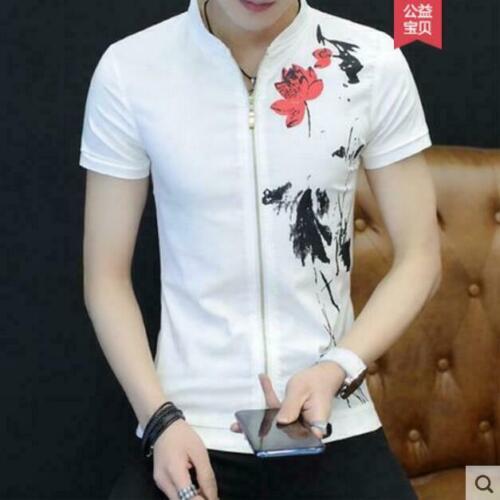Mens Slim Fit Zip Up Summer Tops Short Sleeve Casual Cotton T-shirts Tops Jd/_uk
