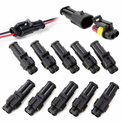 10 Kit 2 Pin 3 Pin Way Waterproof Electrical Wire Connector Plug Super Seal Car