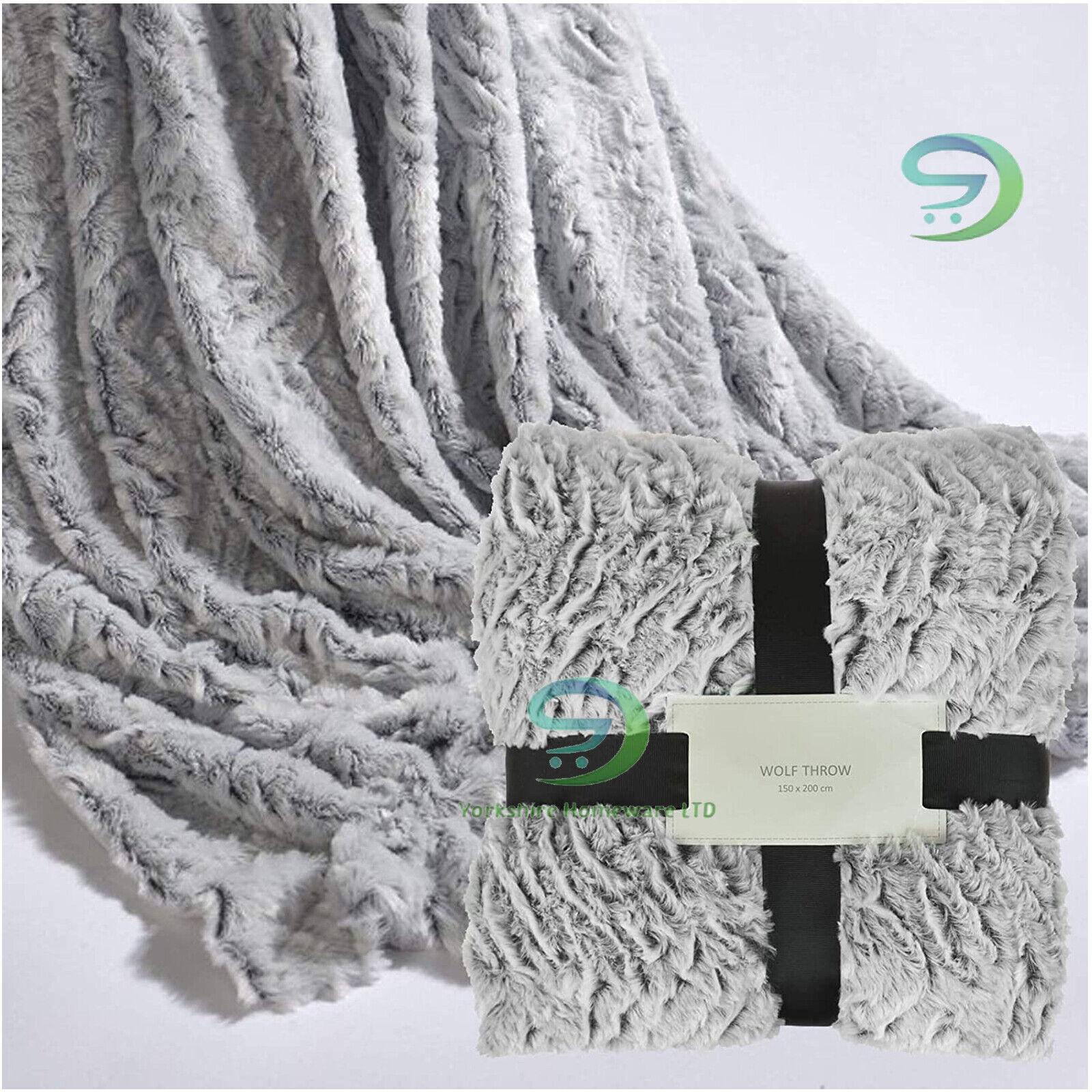 Wolf Neutral Faux Fur Luxury Blanket Grey Silver Bed Warm Cosy Bedding Throw Ebay