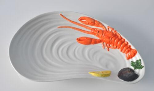 BASSANO KERAMIK Fischplatte Teller in Muschelform 32,5 cm Hummer MEDITERRAN