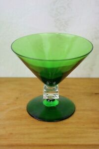 Vintage-Bryce-WILMiNGTON-Green-Cube-Stem-Champagne-Glass-Rare-4-034