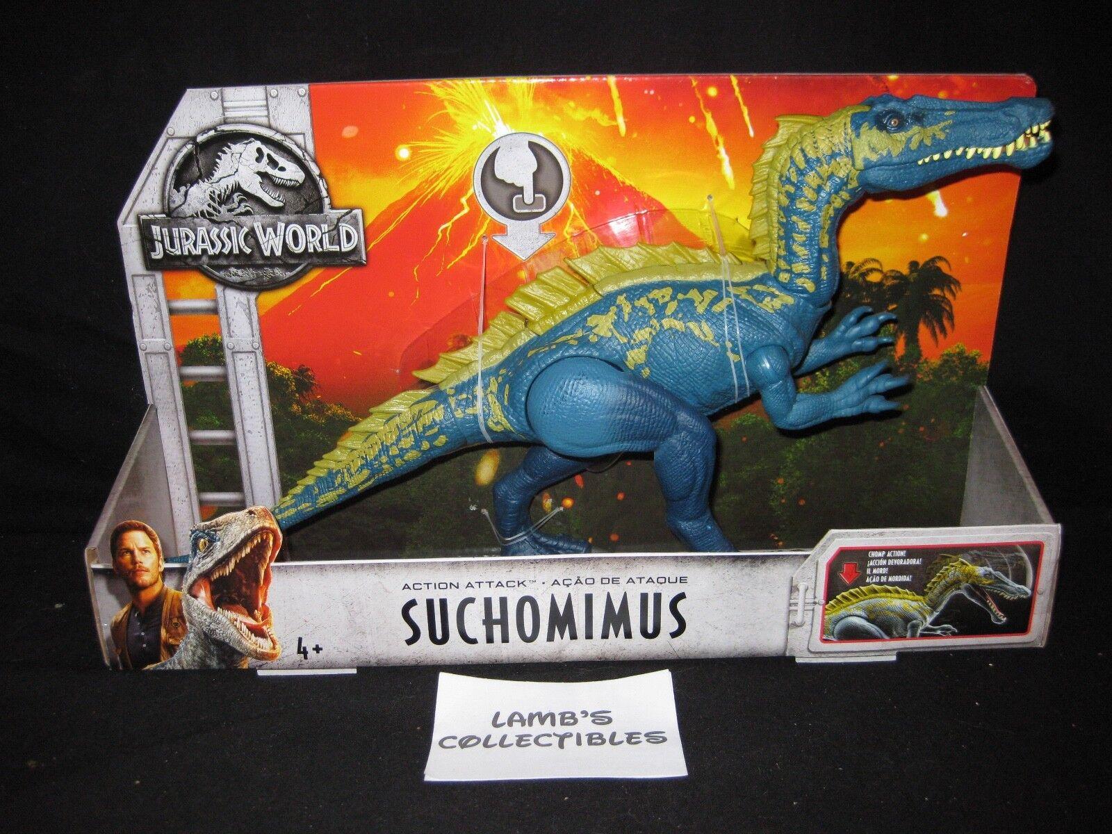 "SUCHOMIMUS /& STEGOSAURUS v2 CASE JURASSIC WORLD 14/"" Head Tail 2019 MATTEL"
