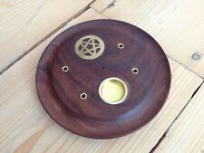 WOODEN PENTAGRAM INCENSE HOLDER FOR CONES JOSS STICKS INSENCE INSCENSE NEW AGE