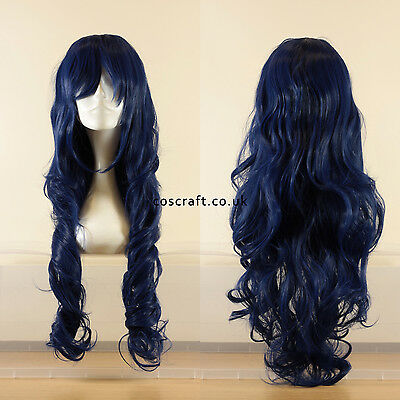 80cm long wavy curly cosplay wig in midnight blue, UK seller, Jeri style
