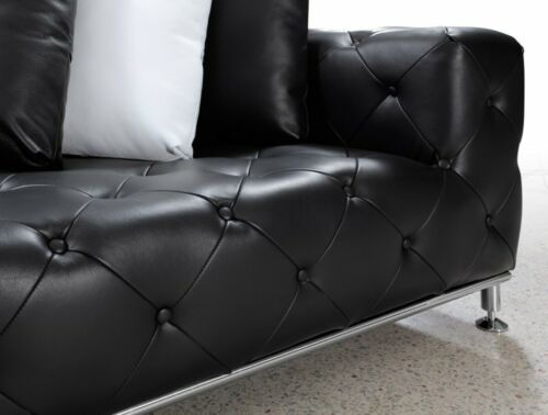 2 pc set Modern contemporary black premium Leather Sectional Sofa chaise #672
