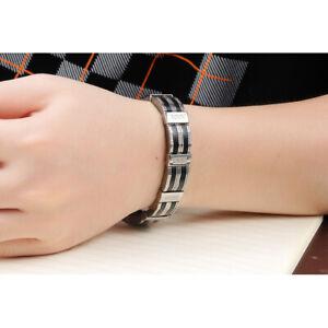 Top-Armband-Edelstahl-Kuerzbar-Herren-Luxus-Armreif-Armkette-Schwarz-Silber-21cm