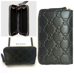 ef533318775 Image is loading GUCCI-SIGNATURE-BLACK-ZIP-AROUND-CARD-CASE