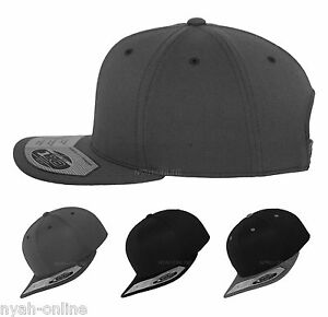 5898c12ecedb5 NEW Flexfit 110 SNAPBACK BASEBALL CAP PLAIN BLACK GREY FITTED ERA ...