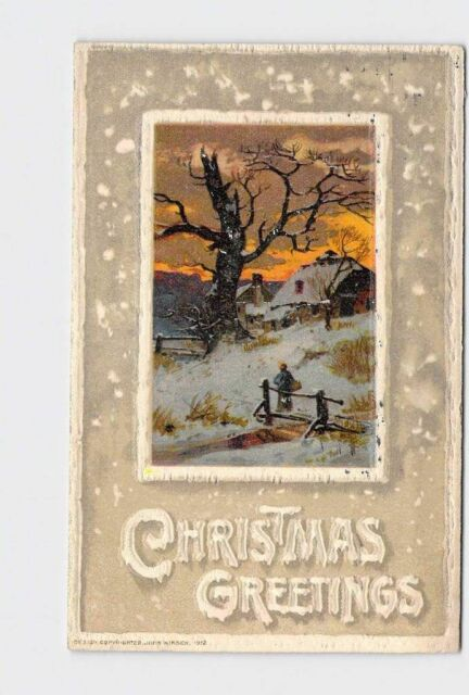 PPC POSTCARD CHRISTMAS WINSCH GREETINGS SNOW COVERED FARM HOUSE CREEK EMBOSSED