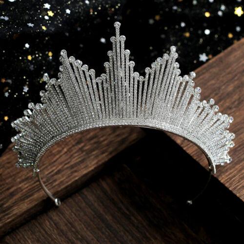 Vintage Wedding Bridal Crystal Queen Silver Crown Tiaras Party Hair Accessories