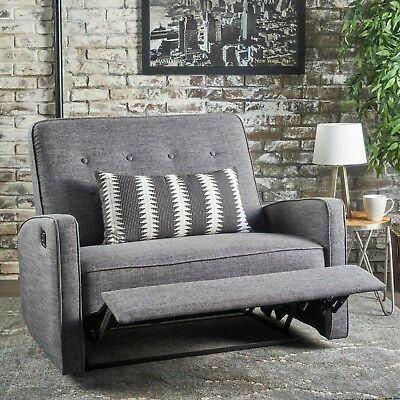 Peachy Callade Buttoned Fabric Reclining Loveseat Ebay Andrewgaddart Wooden Chair Designs For Living Room Andrewgaddartcom
