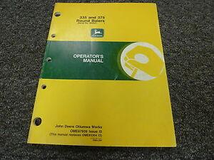 john deere 335 375 round baler owner owner s operator manual user rh ebay com john deere 375 backhoe manual john deere 375 baler manual