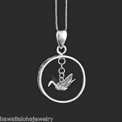 Sterling Silver Womens 1mm Box Chain 3D Large Japanese Origami Crane Pendant Necklace