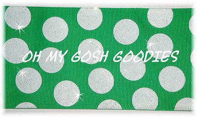 "3"" GLITTER JUMBO CHEER TEAM DOTS GREEN WHITE GROSGRAIN RIBBON 4 IRISH HAIRBOW"
