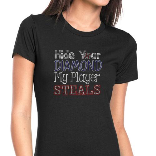 shirt Steels Hide Fitted Diamond Black T Womens Baseball Bling Tee Rhinestone fxSg5qF