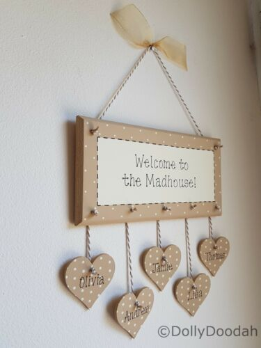 Personalised Soft Beige Madhouse Family Welcome Plaque Gift Present Love Hallway