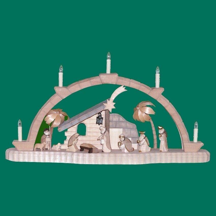 Sculpté Arches avec krippenhaus hauteur 36 cm NEUF Erzgebirge Arc lumineux