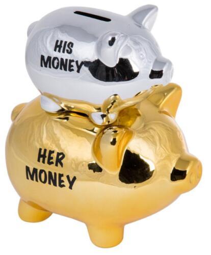 Golden /& Silver Colour-78//4135 Double Piggy His Money /& Her Money Moneybox