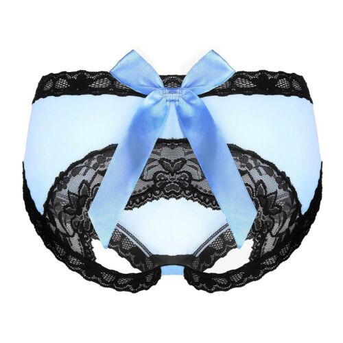 Women Silky Open Butt Sheer Knickers Briefs Underwear with Lace Trim /& Satin Bow