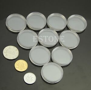 26mm-10pcs-Applied-Clear-Round-Cases-Coin-Storage-Capsules-Holder-Round-Plastic