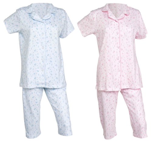Femmes en coton fleuri Pyjama Bouton Haut Top /& Longueur 3//4 PJ Bottoms NIGHTWEAR SET