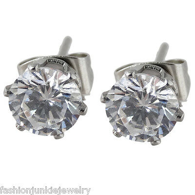 Round 6mm CZ Stud Earrings - Cubic Zirconia, Stainless Steel Posts Pierced NEW