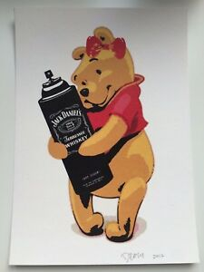 USA-Death-NYC-lithografic-print-039-Drunk-Winnie-039-signed-and-numbered-COA