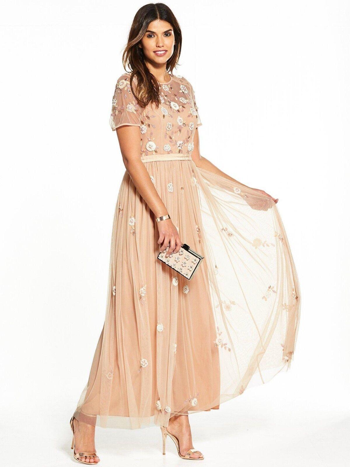 V by Very Embellished Maxi Dress Size 18 bluesh