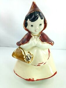 RARE-Vintage-Hull-Ware-Pottery-Little-Red-Riding-Hood-Cookie-Jar-967-2-PC-13-034