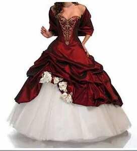 Weiss Rot Exclusives Abendkleid Brautkleid Ballkleid Brauch