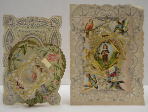 Two-AS-IS-Victorian-Die-Cut-3D-Pop-Up-Litho-Valentines-Cards-Damaged-Antique-Vtg