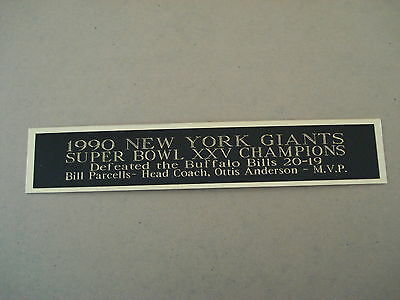 Sports Mem, Cards & Fan Shop New York Giants Super Bowl 25 Nameplate For A Football Display Case 1.5 X 6 Display Cases