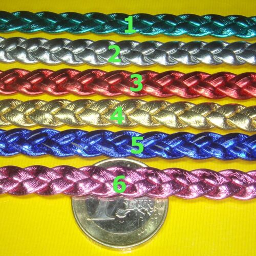 2 Metros de Cuero Plano Trenzado 8mm Polipiel Color a Escoger A124