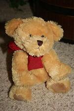 "Brown GILES Teddy BEAR Burgundy Bow Plush RUSS BERRIE Stuffed Animal 11"" #G7"