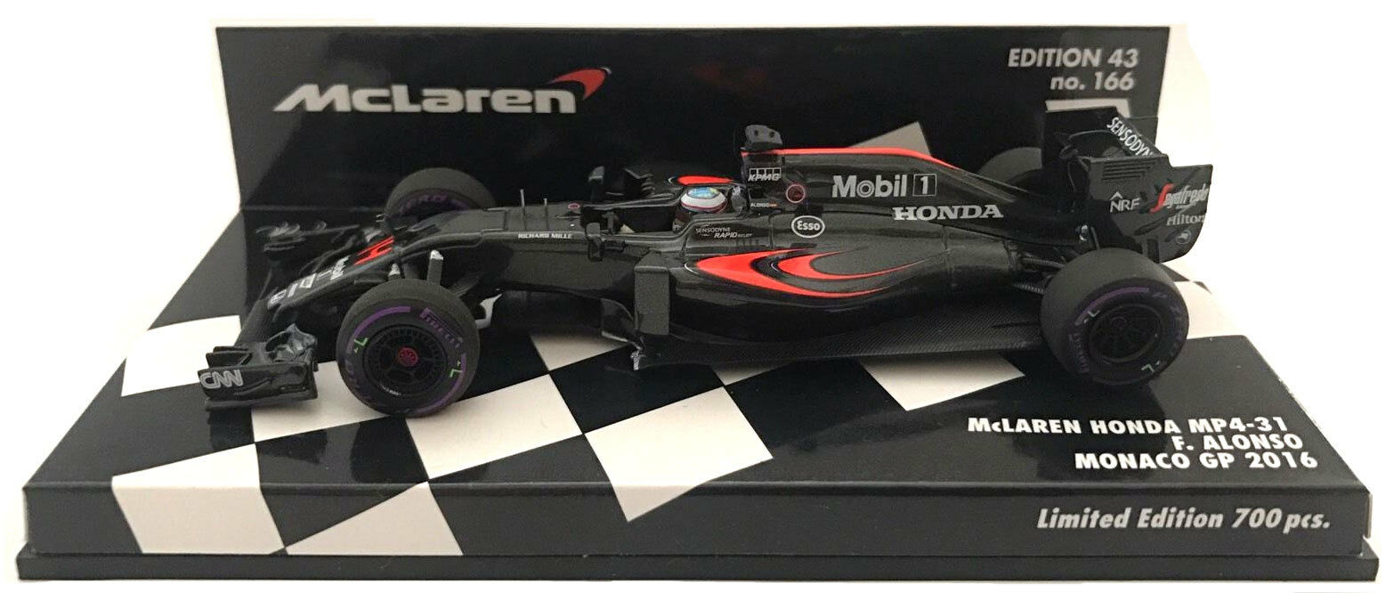 Minichamps McLaren Honda MP4-31 Monaco GP 2016-Fernando Alonso 1 43 Escala