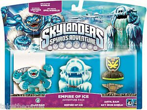 Skylanders-Spyro-039-s-Adventure-Pack-EMPIRE-OF-ICE-Slam-Bam-Anvil-Rain-BNIP