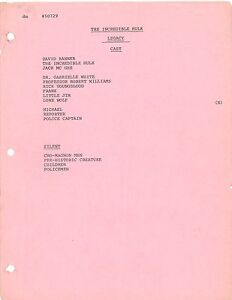 THE INCREDIBLE HULK - KINDRED SPIRITS (1979) Rev  Draft Script KIM